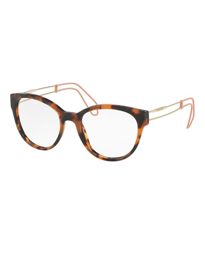 Open-Inset Rounded Cat-Eye Optical Frames, Dark Havana