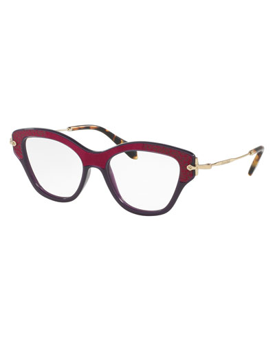 Velvet-Trim Cat-Eye Optical Frames, Dark Purple