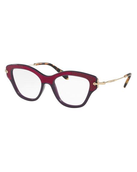 Velvet-Trim Cat-Eye Optical Frames, Dark Purple