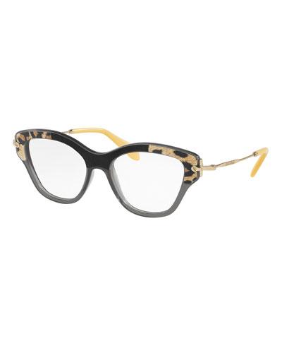 velvet trim cat eye optical frames grayblack