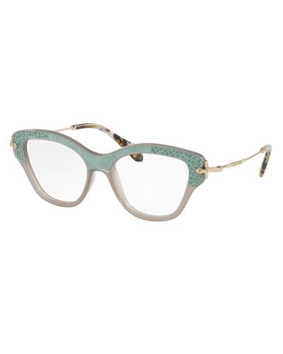 Velvet-Trim Cat-Eye Optical Frames, Gray/Teal
