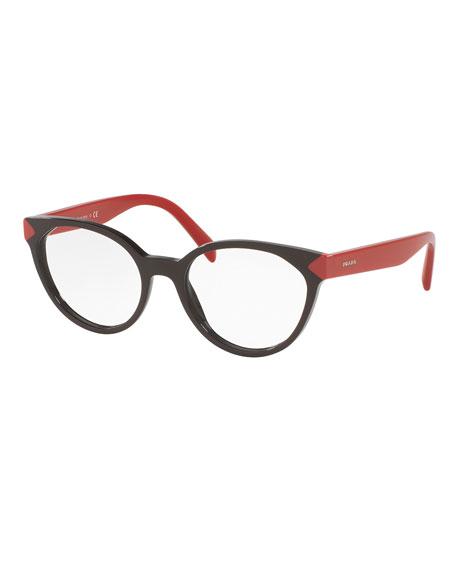 PradaTwo-Tone Cat-Eye Optical Frames, Dark Brown/Red