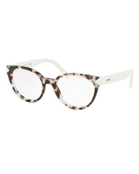 Prada Eyeglass Frames Cateye : Prada Two-Tone Cat-Eye Optical Frames, Brown/White