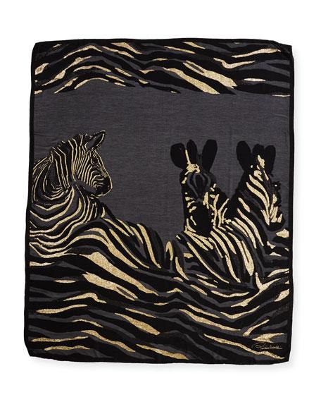 Fil Coupe Zebra Shawl, Black/Gold