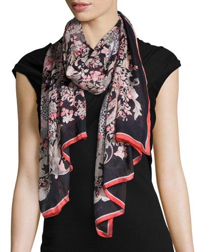 Jean Printed Silk Stole, Black/Red