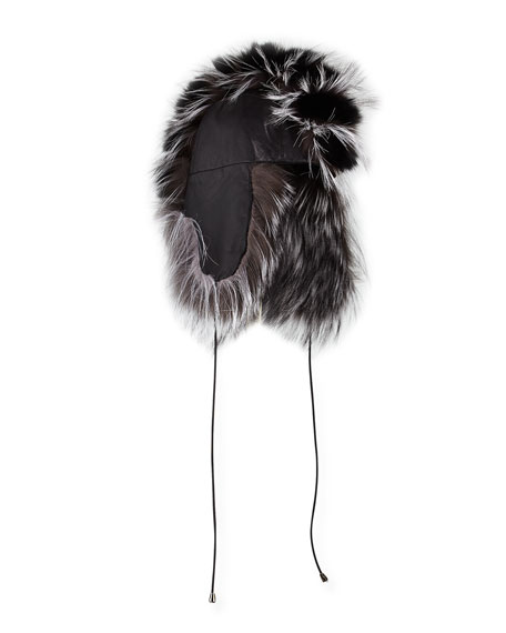 Myra Leather & Fox Fur Trapper Hat, Black