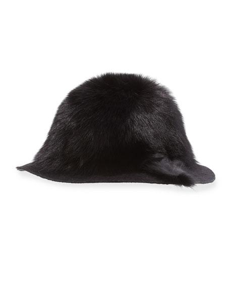 Arden Fox-Fur Wide-Brim Hat, Black