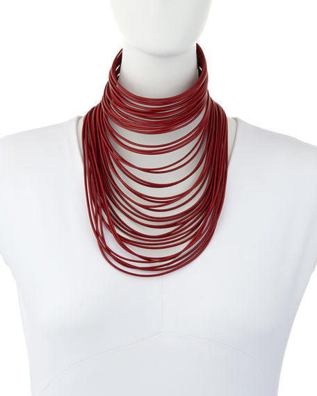 Leather Massai Collar Necklace, Red