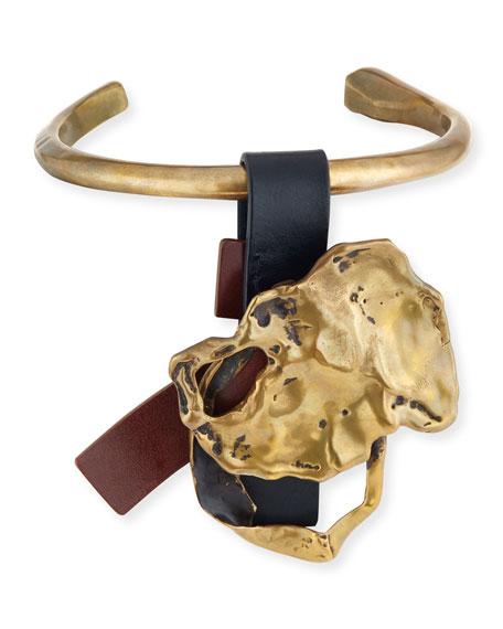 Melted Medallion Choker Necklace, Vintage Gold/Black