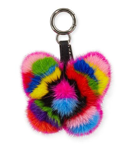 Mink Fur Rainbow Butterfly Bag Charm, Multicolor