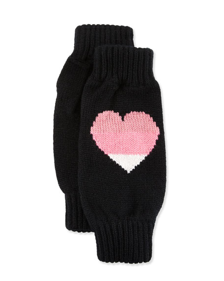 Cashmere Heart Wrist Warmers, Black
