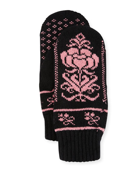 Cashmere Floral Norwegian Mittens, Black