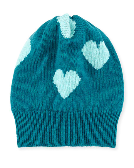 Cashmere Heart Beanie Hat, Jade/Turquoise