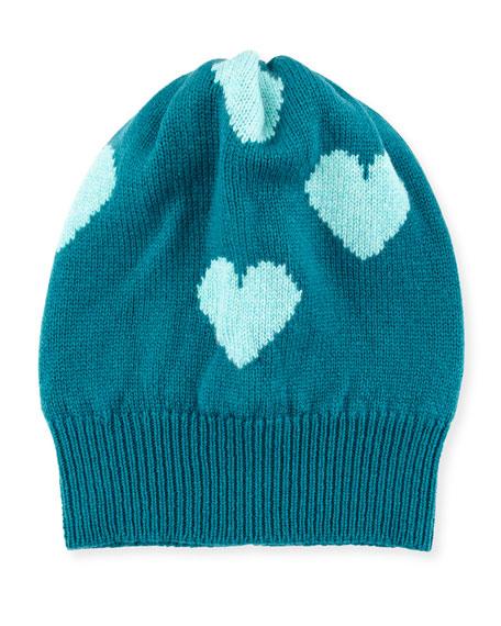 Rosie Sugden Cashmere Heart Beanie Hat, Jade/Turquoise