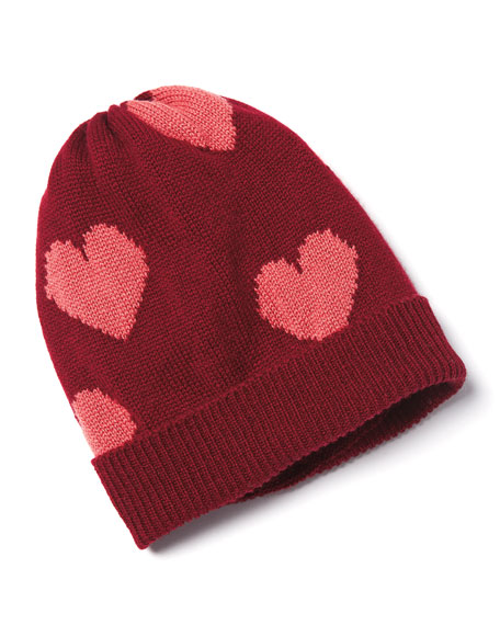 Cashmere Heart Beanie Hat, Red/Pink