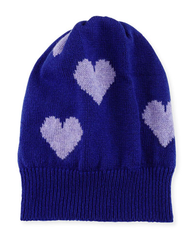 Cashmere Heart Beanie Hat, Purple/Lilac