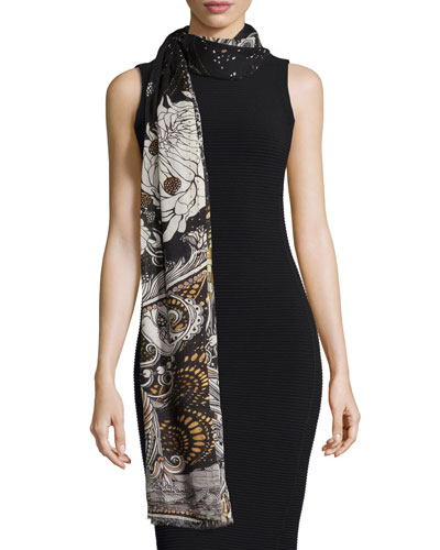 Studded Printed Cashmere Scarf, Black/Gold