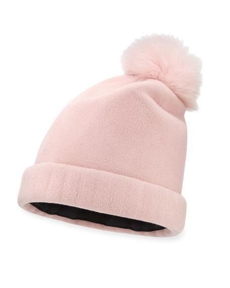 Bunnie Structured Felt Beanie, Pink
