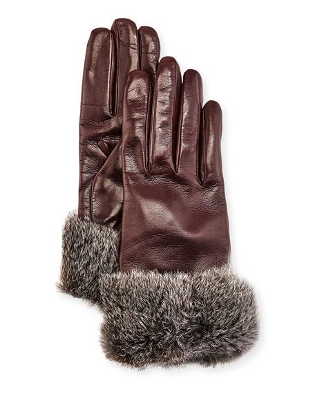 Gala Gloves Leather Fur-Trim Gloves, Bordeaux