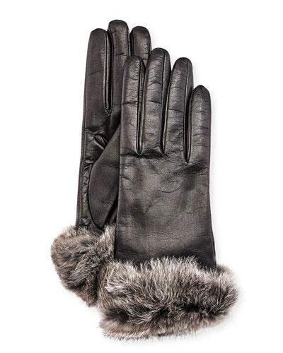 Leather Fur-Trim Gloves, Black