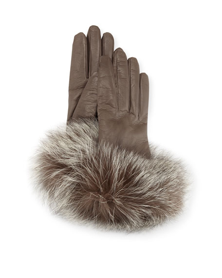 Leather Gloves w/ Fur Cuffs, Gray