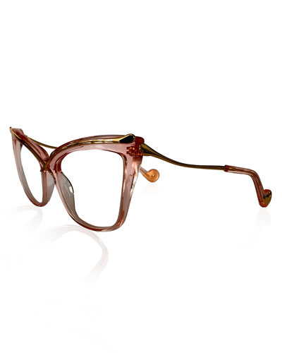 Lusciousness Divine Cat-Eye Optical Frames, Pink