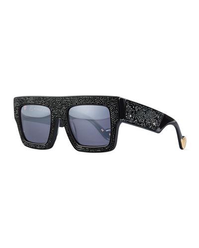 Mr. 3 AM Swarovski® Shield Sunglasses, Black Crystal