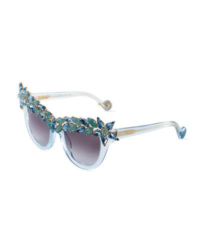 Decadence Swarovski® Cat-Eye Sunglasses, Turquoise