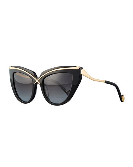 Anna-Karin Karlsson Lusciousness Cat-Eye Sunglasses, Gold/Black