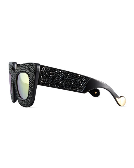 Wonderland Stories Swarovski® Cat-Eye Sunglasses, Black Crystal