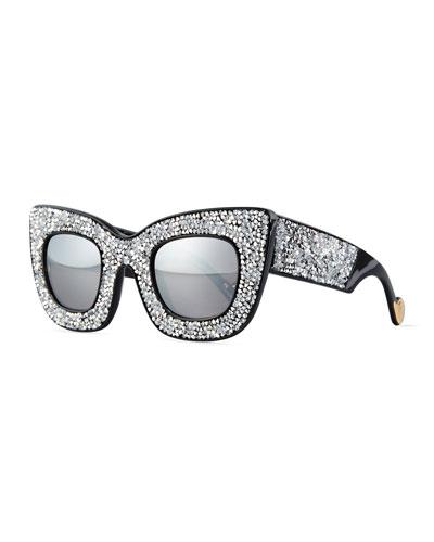 Wonderland Stories Swarovski® Cat-Eye Sunglasses, Ice Crystal