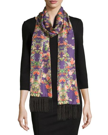 Edna Floral Silk Tassel Scarf, Purple