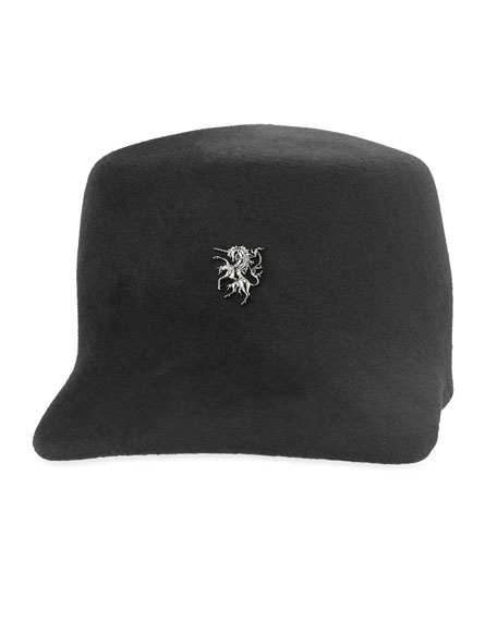 Wool Felt Baseball Cap, Black