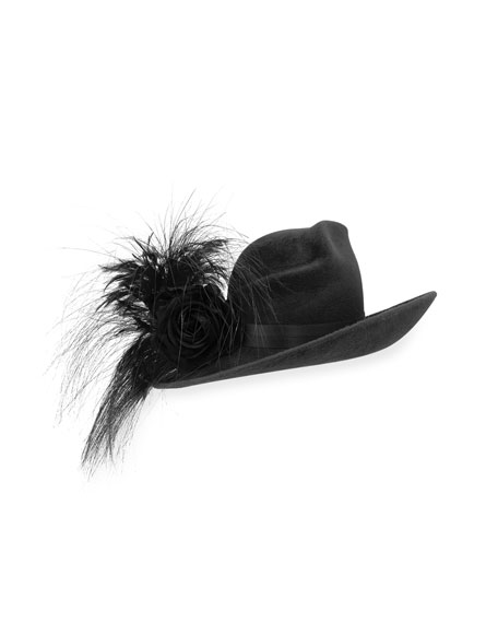 Philip Treacy Velour Feather-Spray Side-Sweep Hat, Black