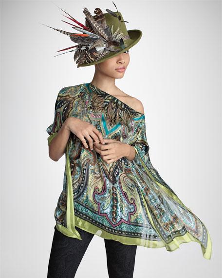 Velour Sidesweep Hat, Dark Moss