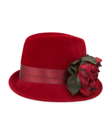 Wool Side-Sweep Fedora w/ Rosette, Ruby