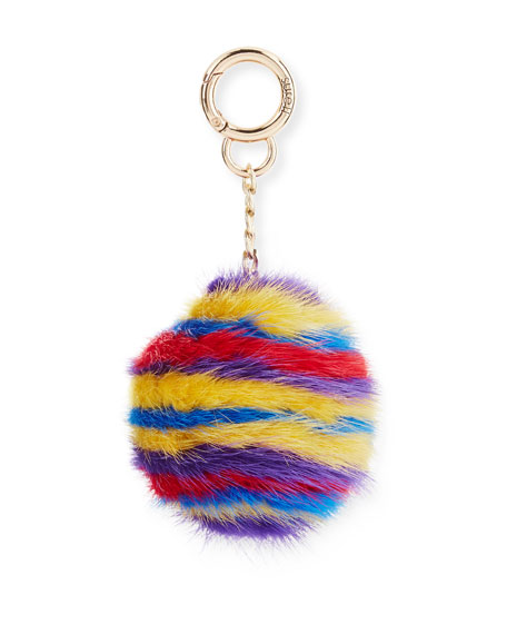 Striped Mink Fur Key Chain, Multicolor