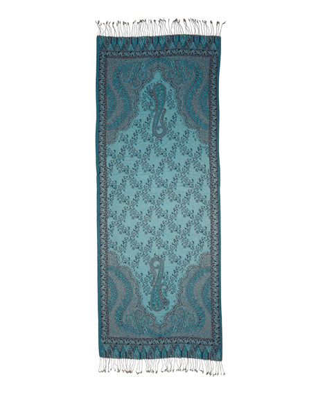 Paisley Jacquard Weave Silk Shawl, Blue Floral