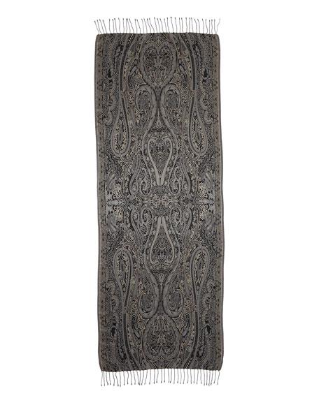 Paisley Jacquard Weave Silk Shawl, Black/White
