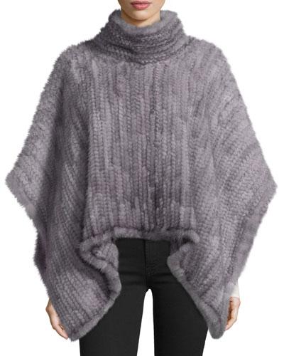 Knit Mink Fur Poncho, Gray