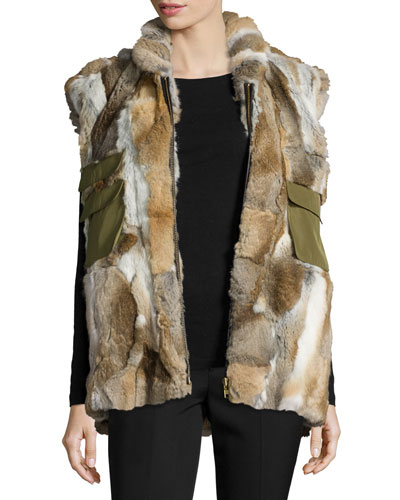 Rabbit Fur & Canvas Vest, Natural/Brown