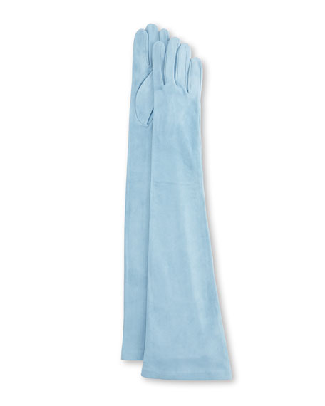 Long Suede Gloves, Blue