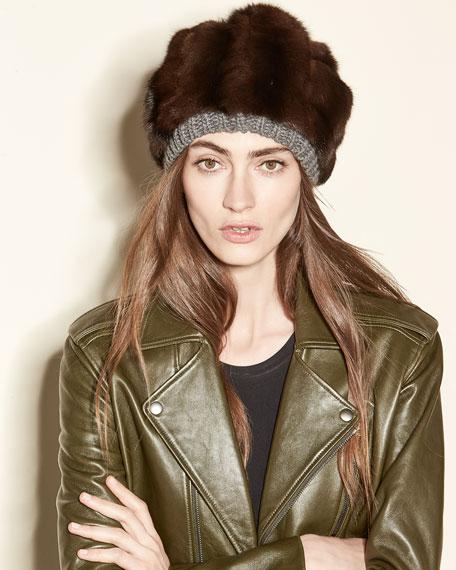 Fur & Cashmere Beanie Hat, Brown