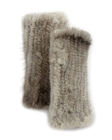 La Fiorentina Fingerless Mink Fur Gloves, Gray