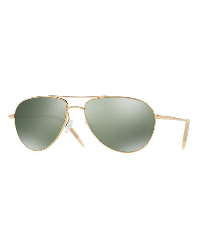 Benedict Mirrored Aviator Sunglasses, Gold/Green