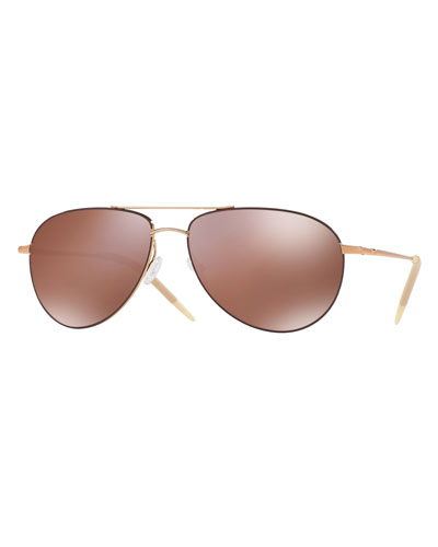 Benedict Mirrored Aviator Sunglasses, Rose Gold