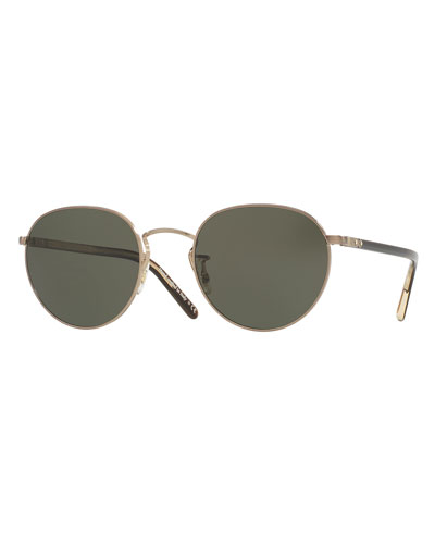 Hassett Monochromatic Round Sunglasses, Gold
