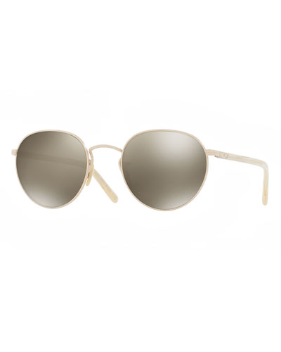 Hassett Mirrored Round Sunglasses, Gold/Gray