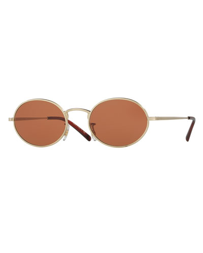 Empire Suite Monochromatic Oval Sunglasses, Orange