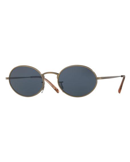 Empire Suite Monochromatic Oval Sunglasses, Gold/Blue